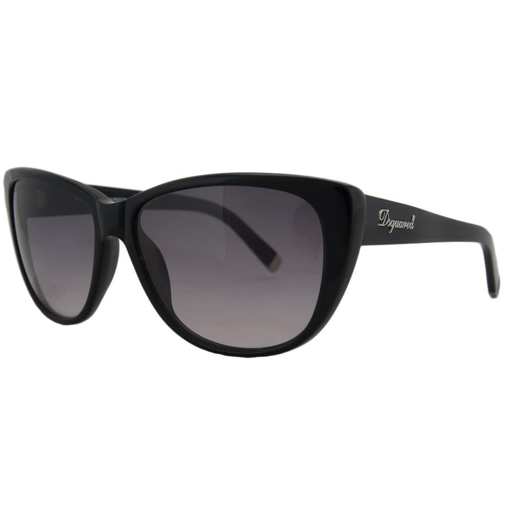 DSquared DQ 0080 01V Black Wayfarer Full Rim Sunglasses