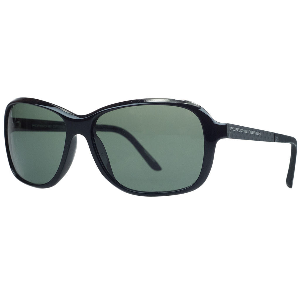 Porsche P8558-A Black Rectangular Sunglasses
