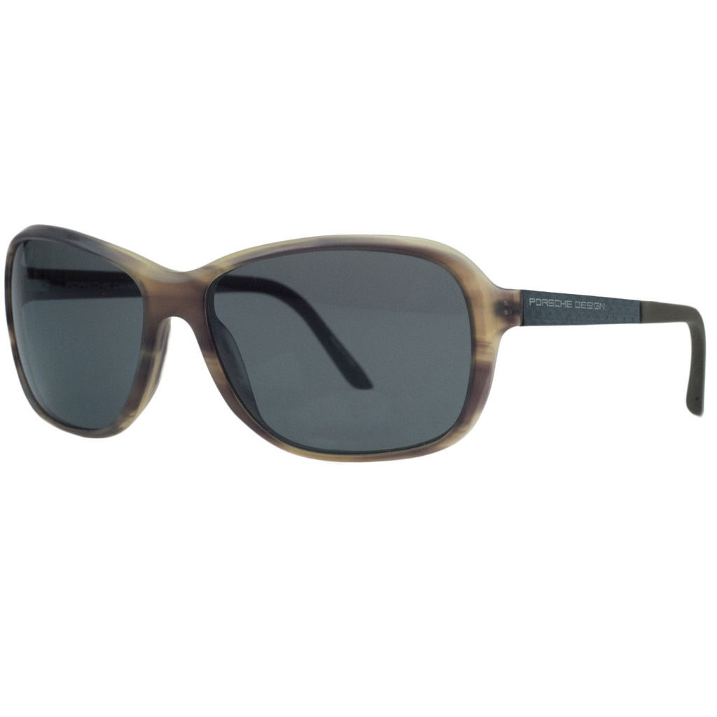 Porsche P8558-B Brown Horn Rectangular Sunglasses