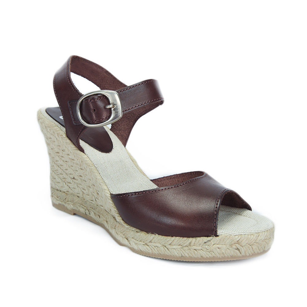SKA BETTY V7N Chocolate Brown Espadrille Strapy Wedge Sandals