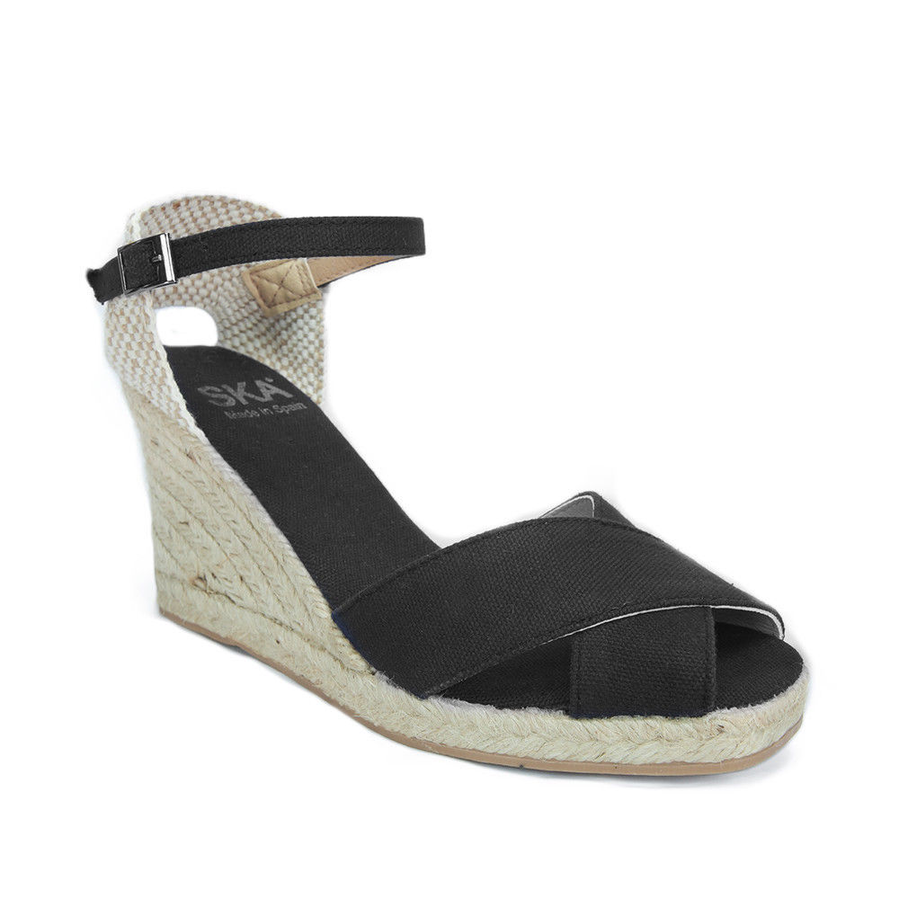 SKA DULCE P7N Nero Black Espadrille Criss Cross Wedge Sandals