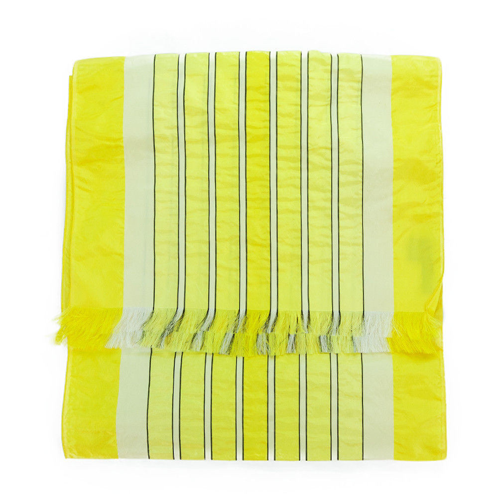 Valentino ST52X1 ST Fine  Striped Yellow Raw Silk Scarf
