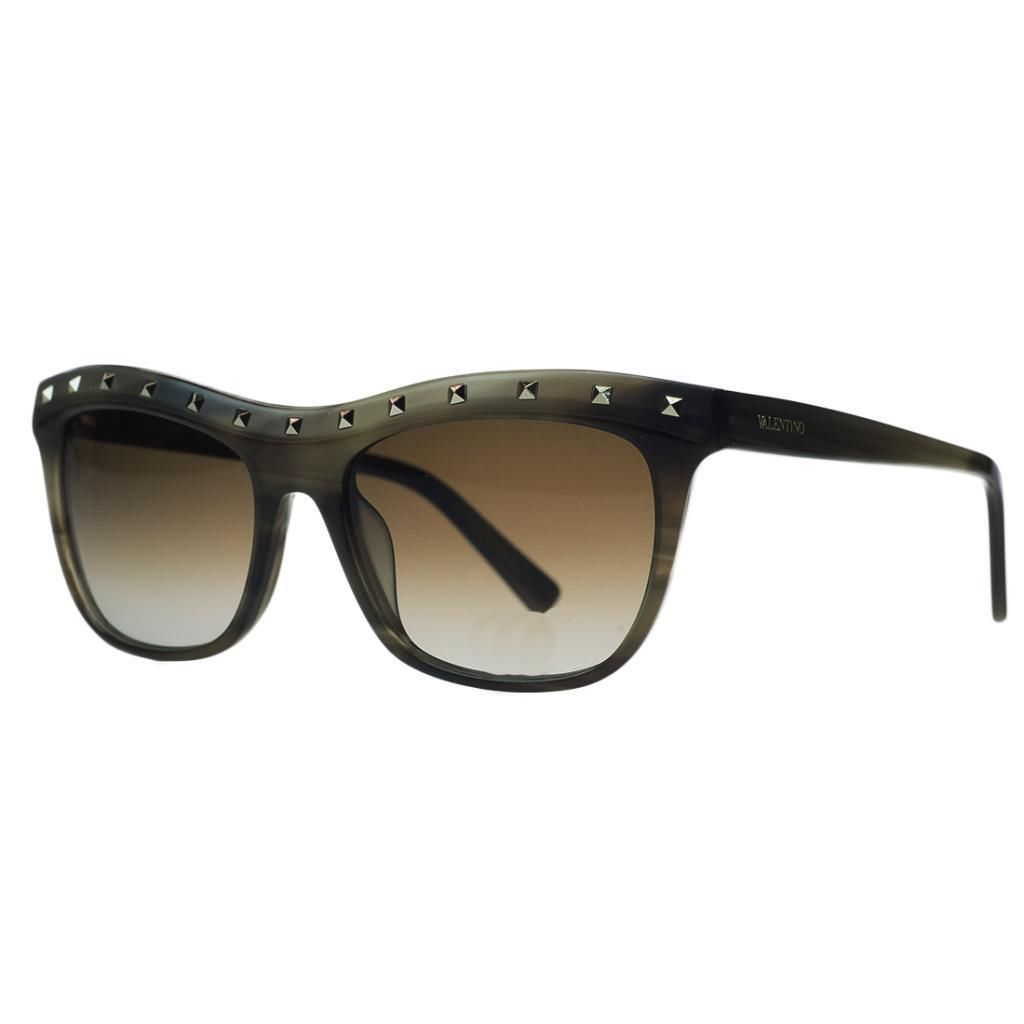 Valentino V 650/S 305 Striped Khaki Wayfarer Sunglasses
