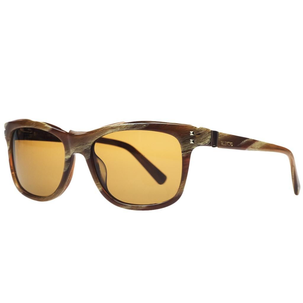 Valentino V 653/S 259 Striped Cognac Wayfarer Sunglasses