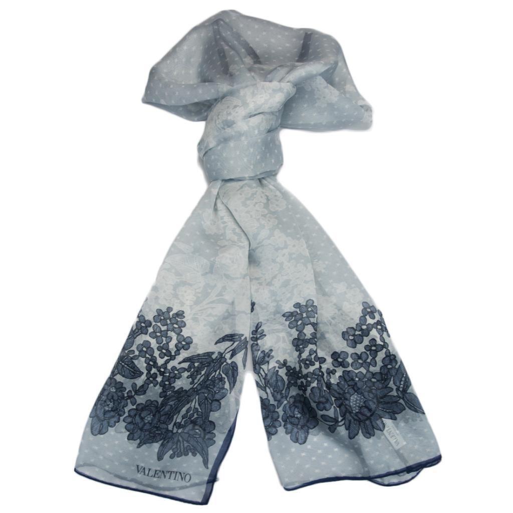 Valentino VS7020 6796 Col.3 Blue Floral Silk Ladies Scarves