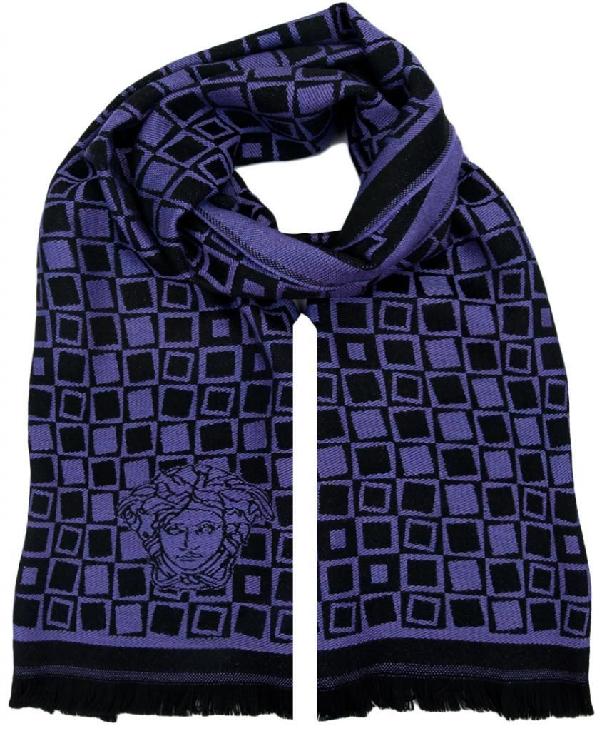 Versace VHB0292 001 Geometric Pattern Purple 100% Wool Mens' Scarf