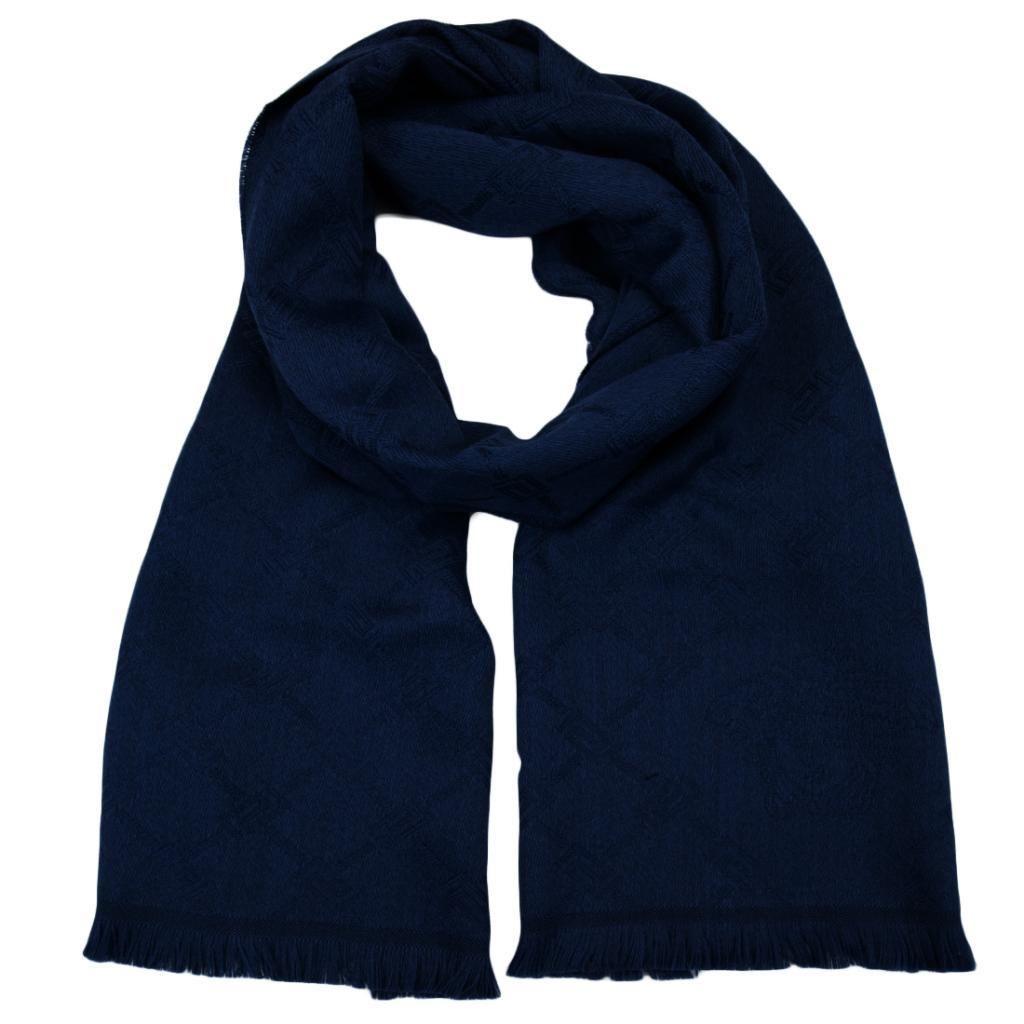 Versace SC54 STCK 002 100% Wool Navy Blue Mens Scarf