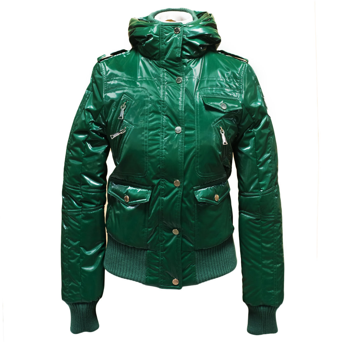 Arlene Verde Minta Mint Green Padded Women's Bomber Hoodie Jacket