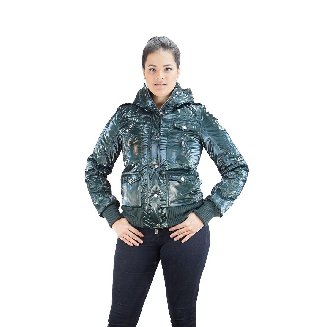 Williams Wilson Arlene Verde Forest Green Padded Women's Bomber/Hoodie Jacket