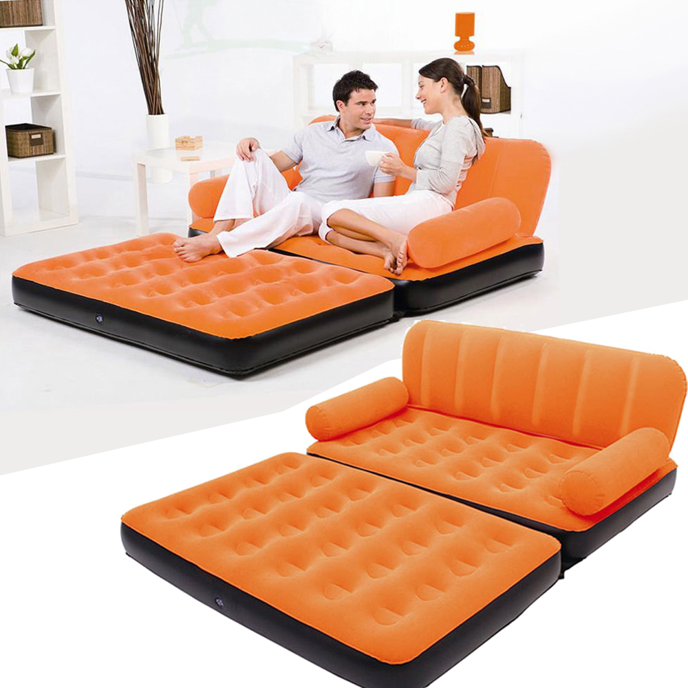 multi inflatable pull out sofa couch full double air bed mattress sleeper orange ebay. Black Bedroom Furniture Sets. Home Design Ideas