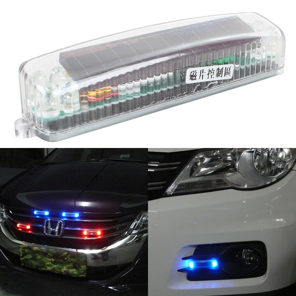 car solar flash lights led prevent rear end grill. Black Bedroom Furniture Sets. Home Design Ideas