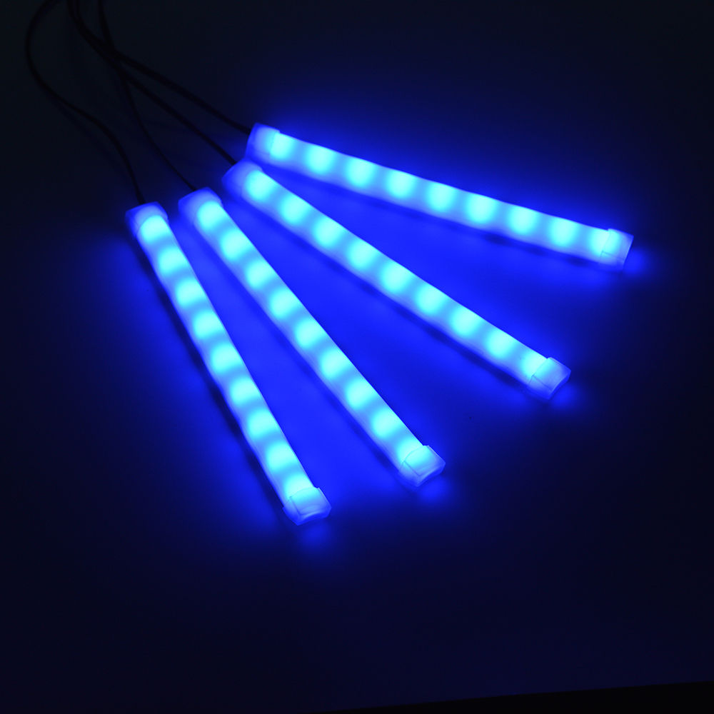 4pcs 12v car auto interior blue 9 led atmosphere lights decoration strip lamp ebay. Black Bedroom Furniture Sets. Home Design Ideas