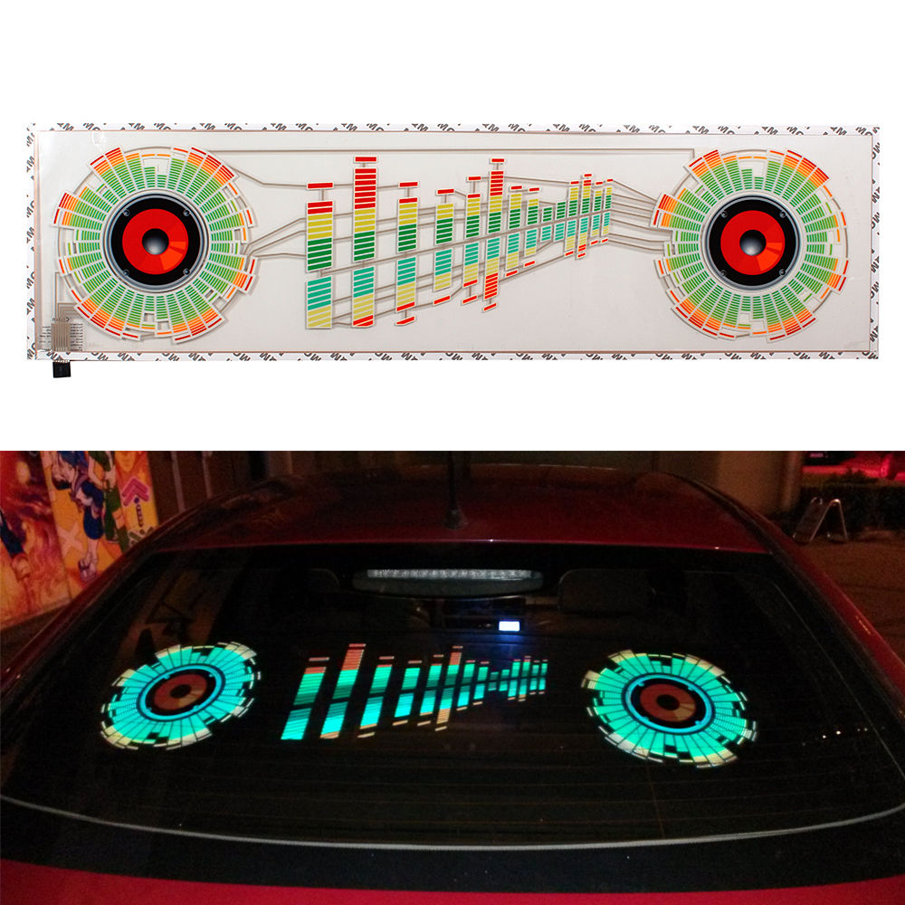 90x25cm Car Sticker Music Rhythm LED Flash Lights Lamp Sound Activated Equalizer