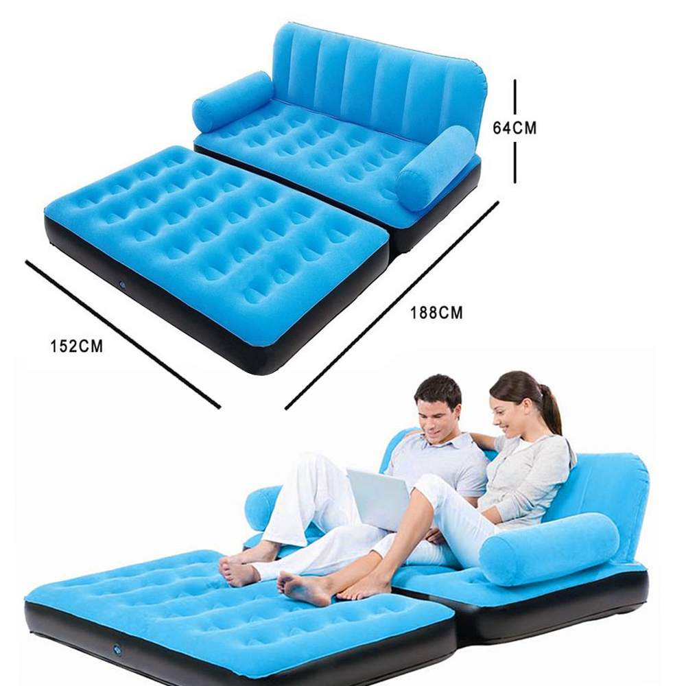 Inflatable Pull Out Sofa Couch Full Double Air Bed Mattress Sleeper Flocked Ebay