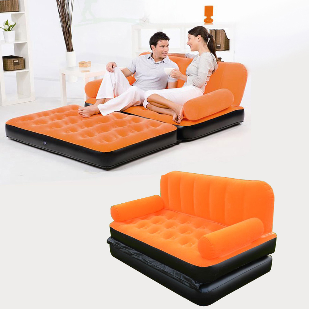 Inflatable pull out sofa couch full double air bed for Pull out bed
