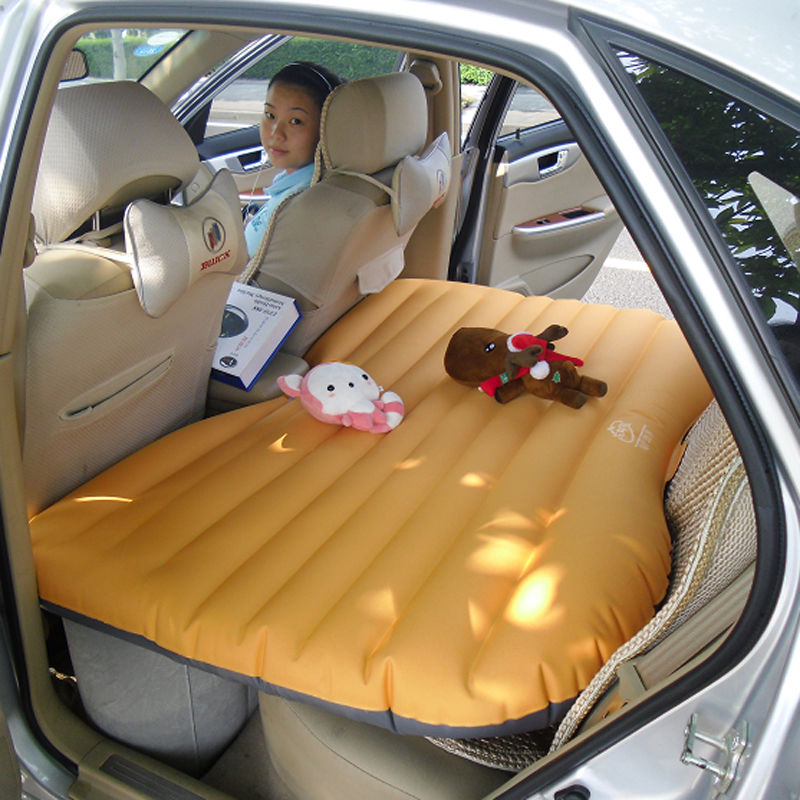 Folding Inflatable Car Bed Back Seat Mattress Air Airbed Travel Camping Pillows