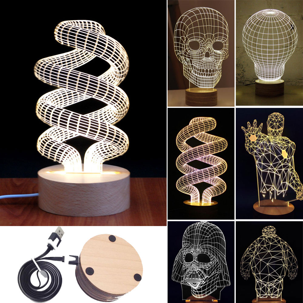 Novelty Unique 3D Illusion Bulb Lamp Night Light USB Table Desk Lamps Bedside eBay