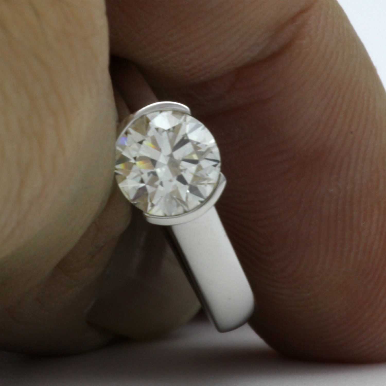 CERTIFIED FLAWLESS DIAMOND ROUND RING VS1 2 CARATS SOLITAIRE 14 KARAT WHITE GOLD