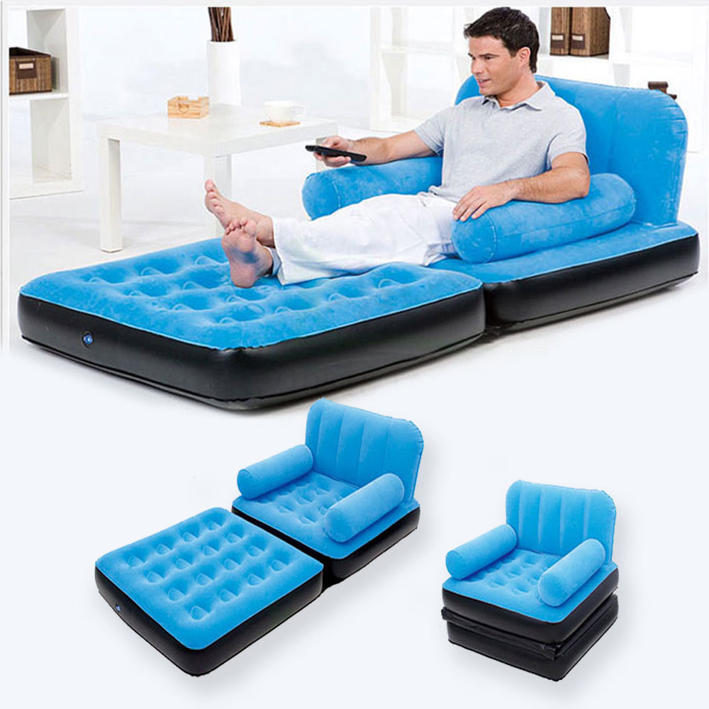 Home Inflatable Pull Out Sofa Couch Full Air Bed Mattress Sleeper Useful Blue Ebay