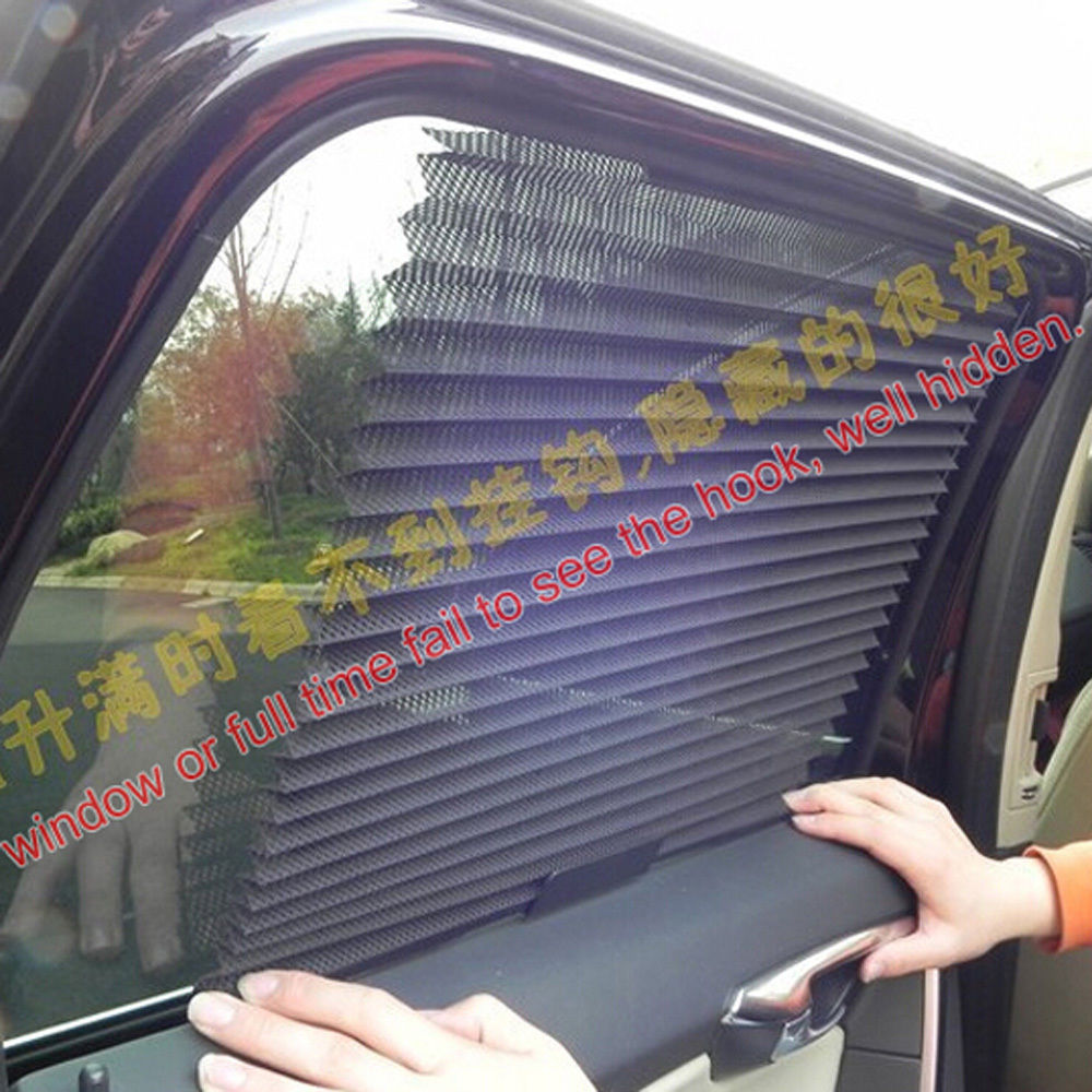 auto interior sun shades car curtain side window roller blind gray retractable ebay. Black Bedroom Furniture Sets. Home Design Ideas