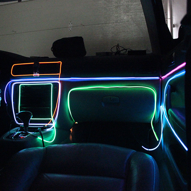 5m 12v led flexible neon light glow el wire rope tube car decorative light new ebay. Black Bedroom Furniture Sets. Home Design Ideas