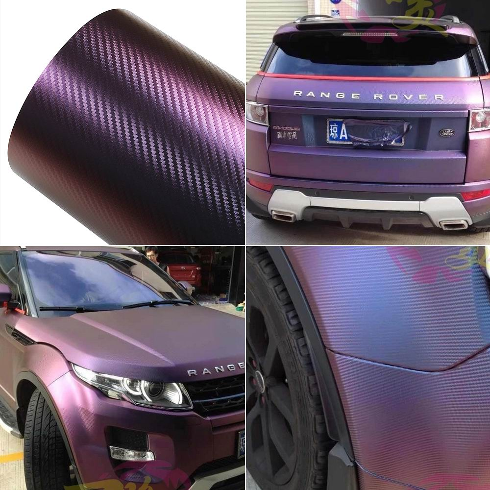 Plastic Wrap Car >> Car Chameleon Carbon Fiber Vinyl Wrap Sticker Films Purple ...