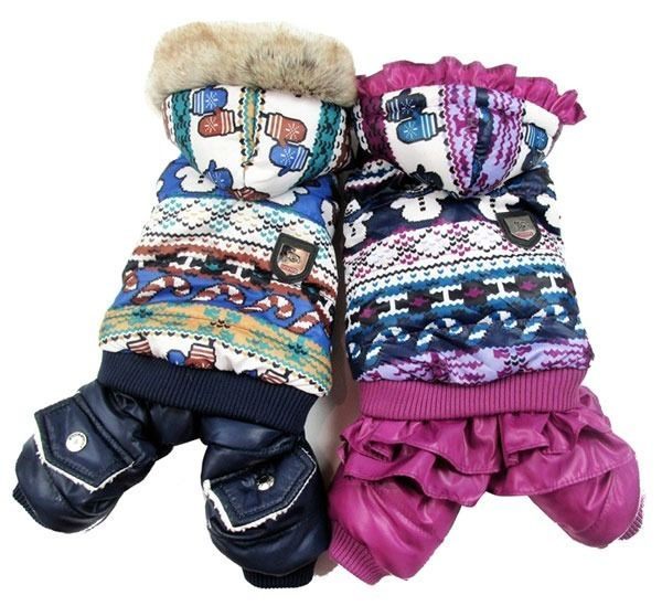 2 Color Snowman Christmas Jumpsuit Trench Fleece Coat Small Dog Clothes Costume