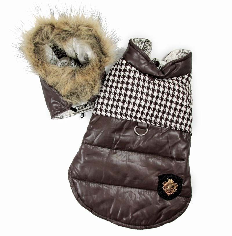 New Plaid Removable Hoodie Costume Winter Coat Sweater Small Boy Pet Dog Clothes
