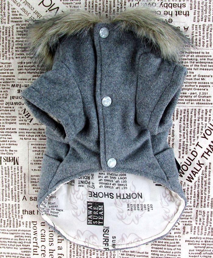 European Woolen Fur Collar Coat Jacket Small Dog Cat Pet Clothes Costume 5 size