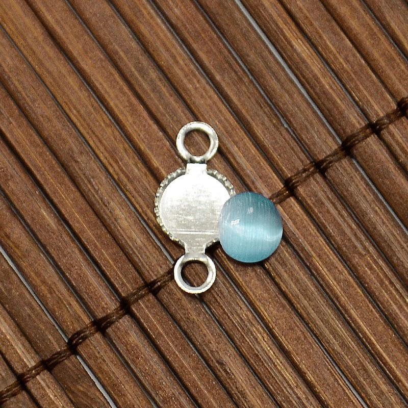 20set 6mm Cat Eye Cabochon Platinum Brass Bead Connector Portrait Cover Pendants
