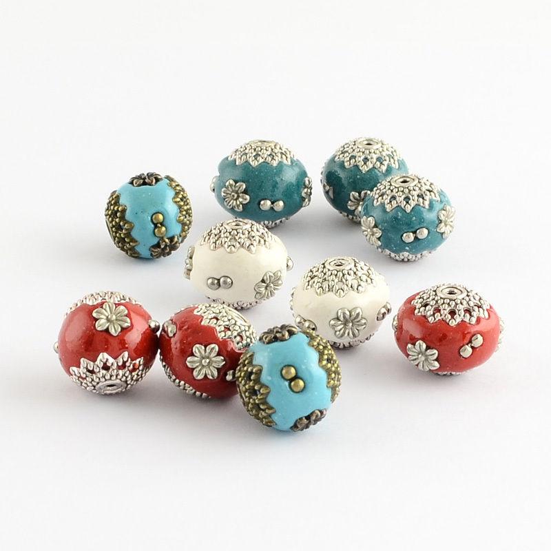 10pcs Antique Silver Alloy Cores Round Handmade Indonesia Beads Retro Jewelry