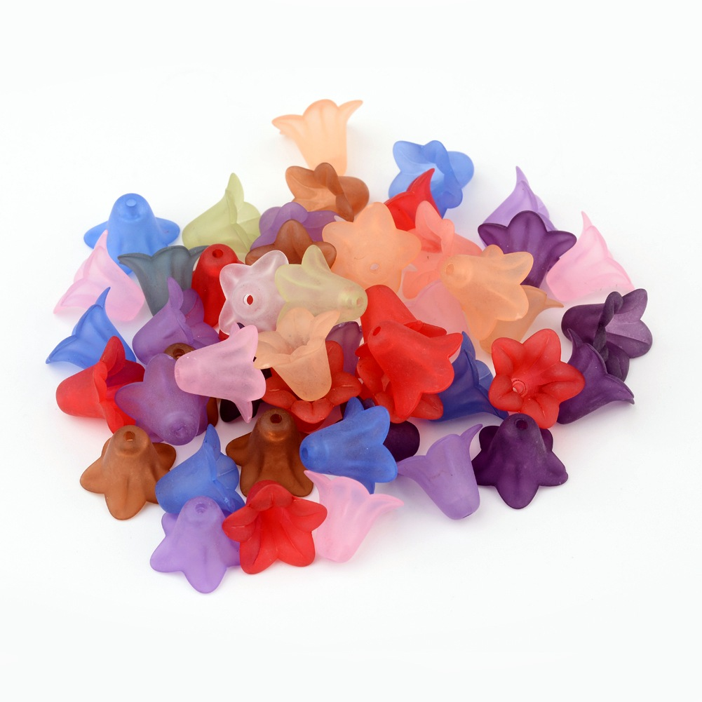 50pcs-Transparent-Acrylic-Beads-Frosted-Flower-Jewelry-DIY-Craft-Handmade