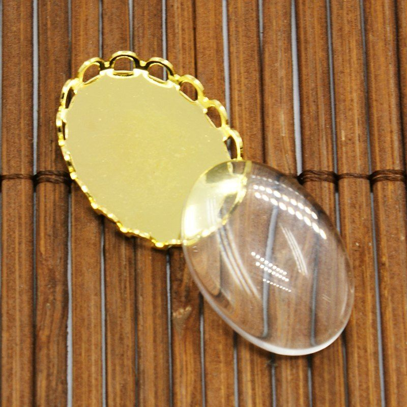 10set Brass Cabochon Settings Oval Transparent Clear Glass Cabochons DIY Jewelry
