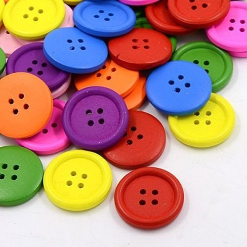 100pcs 4-Hole Colorful DIY Wooden Buttons Dyed Flat Round Sewing Handcraft