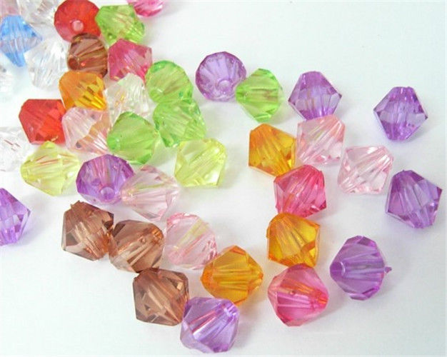 Chunky Dyed Transparent Acrylic Faceted Bicone Spacer Beads for Kids Jewelry