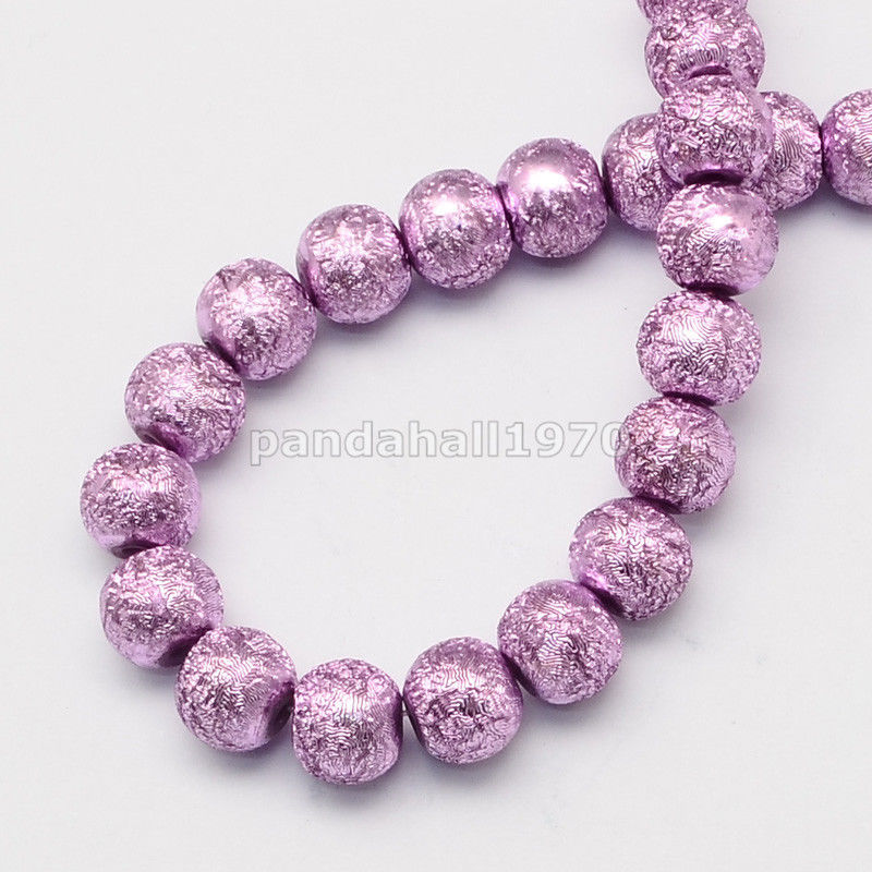 4/6/8/10/12mm Matte Spray Painted Style Round Glass Pearl Beads Strand 31.5""