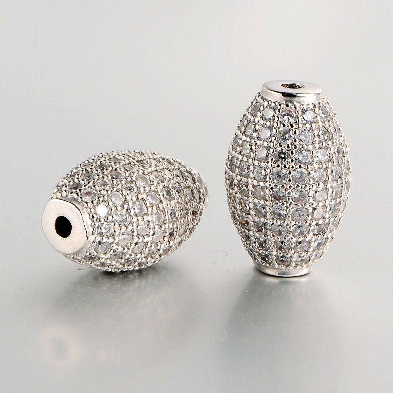 2pcs DIY Jewelry Brass Micro Pave Cubic Zirconia Rice Beads 17x11x10mm Hole: 2mm