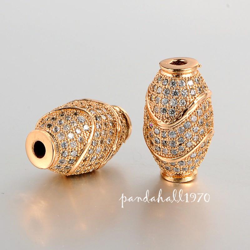 2pcs Golden/Platinum Color Brass Micro Pave Cubic Zirconia Rice Beads 16x10.5mm