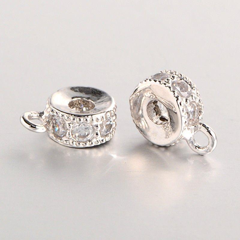 2pcs DIY Jewelry Brass Micro Pave Cubic Zirconia Hanger Links Bail Beads 9x6x3mm