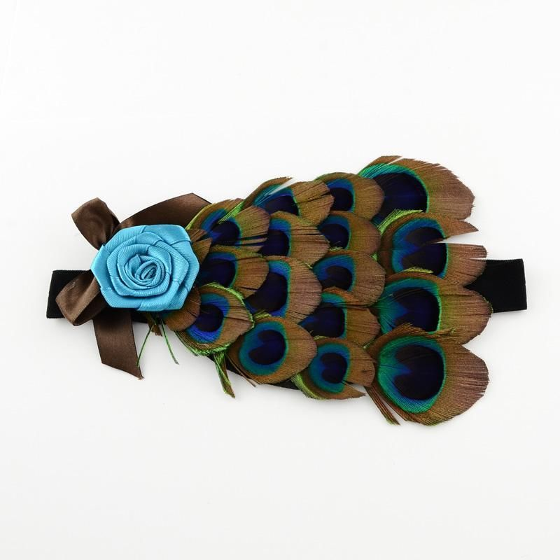 Fashion Cute Dyed Peacock Feather Childern Headbands