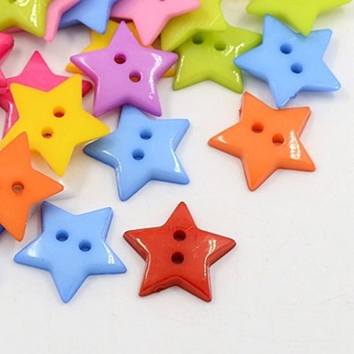 100pc Acrylic Sewing Buttons Plastic Button 2-Hole Dyed Star X-BUTT-E070-B-DSX