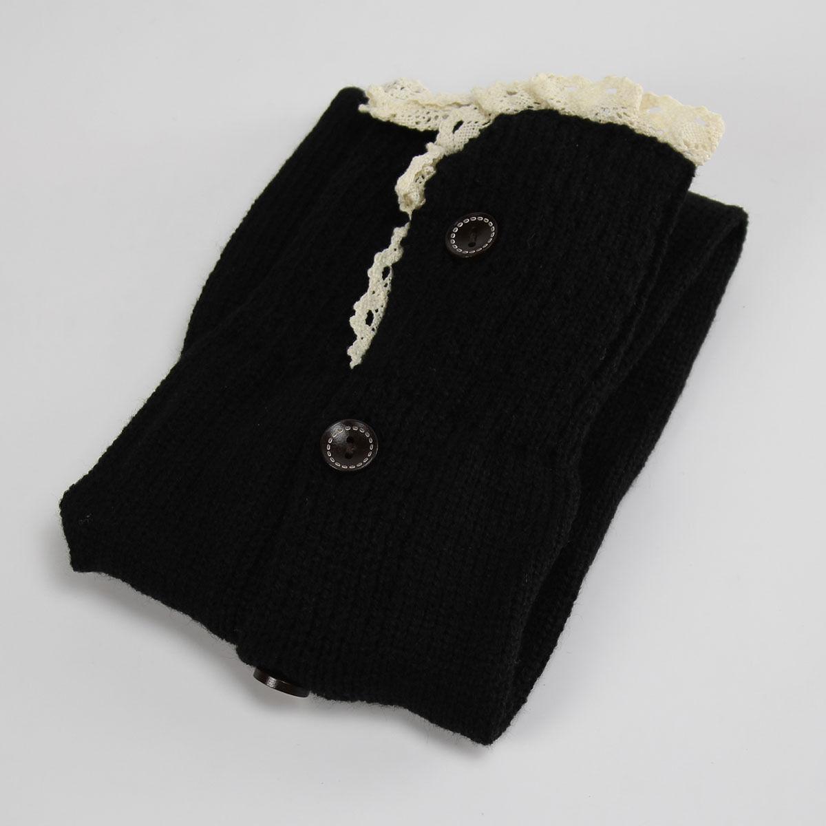 Women Knee High Knit Flat Lace Trim Button Down Crochet Leg Warmers Boot Socks