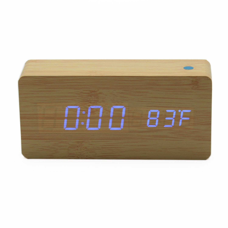 Modern Wooden Wood Led Digital Alarm Clock Calendar