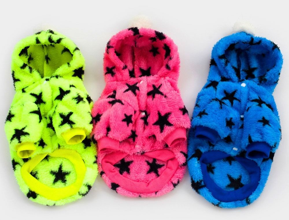 3 color Stars Fleece Coat Sweater Jumper Hoodie Small Boy Girl Dog Clothes S~XXL