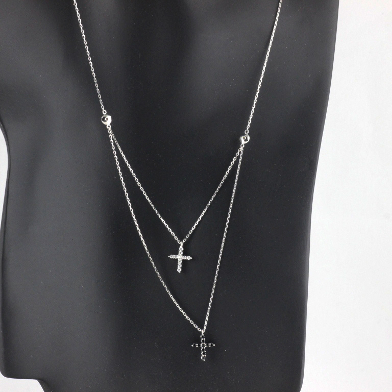 womens 925 sterling silver cz pave black clear two cross. Black Bedroom Furniture Sets. Home Design Ideas