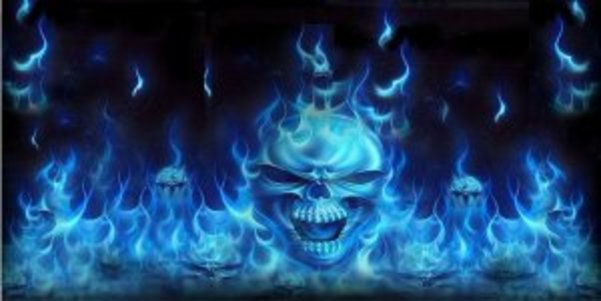 Blue Flaming SKULLs Photo License Plate