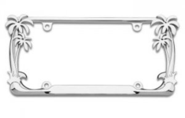 Chrome Palm Trees License Plate FRAME  Free Screw Caps with this FRAME
