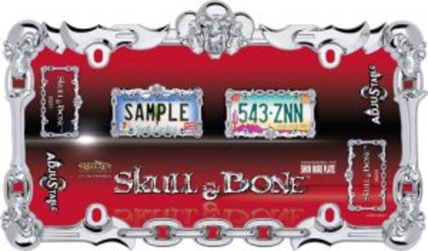 Skull & Bone Chrome License Plate Frame  Free Screw Caps with this Frame