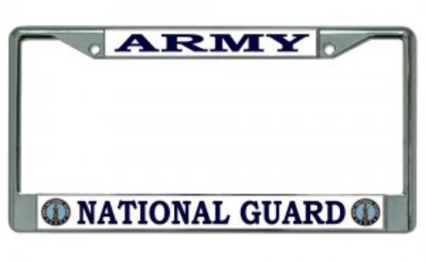ARMY National Guard Chrome License Plate Frame  Free Screw CAPs with this Frame