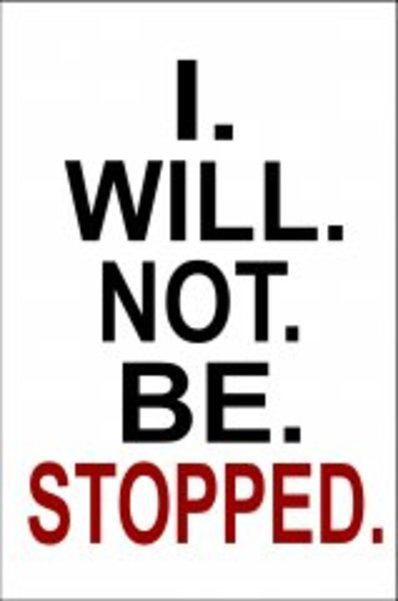 I Will Not Be Stopped Photo Parking SIGN